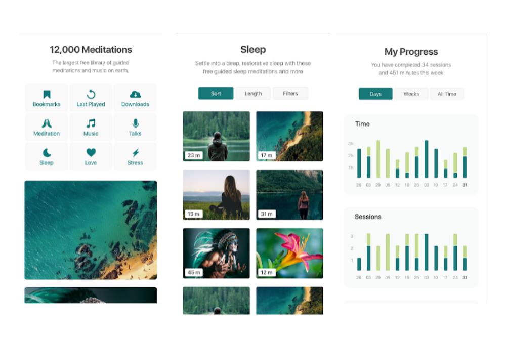 flutter app examples - insight timer